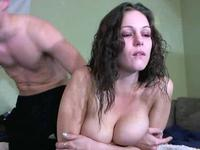 Curly haired brunette smoking and fucking
