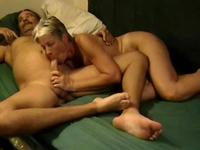 Blonde Milf in a oral tongue twister with a mature dudde