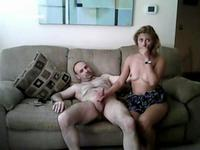 Blonde teen riding a mature sausage