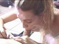 Blonde on the floor while deep-throating