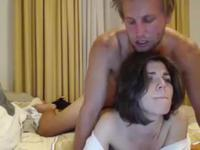 A blond stud gets his brunette lover masturbated