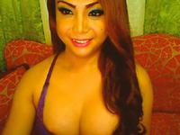 Sweet Busty Filipino Shemale Jerking off