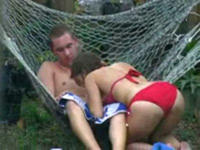 Amazing fuck outdoors in hammock