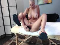 Horny Sarah toying her holes