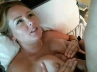 Blonde with big boobs fucks