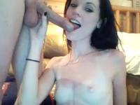 Flawless chick gets naked and sucks