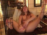Blonde is massaging her wet cunt