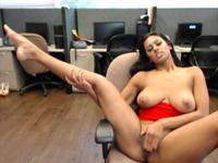 Young woman plays with herself