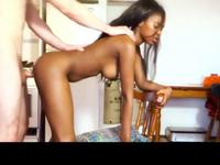 A black  chick is getting fucked hard