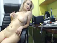 A blonde is having some fun