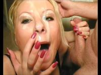A blonde is getting cumshot well