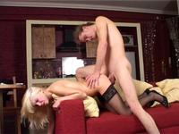Blonde whore swallowed my dick completely