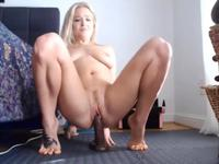 Cute blonde fucks herself with sex toys while nobody is home