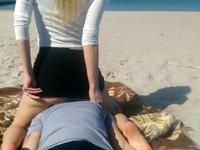 Licked blonde's pussy on the beach
