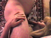 Mature Russian blondie gets cock in mouth and ass