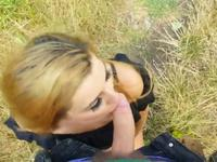 Cute brunette sucks cock in nature and gets fucked by car