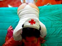 Girl in nurse costume makes a blow job
