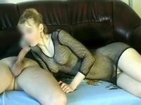 Whore does blowjob and gets anal fuck