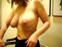 Heavy chested blonde stripping