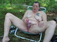 Lustful husband caught on video her chubby milf wife outdoors in the woods,damn!
