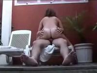 Pretty brunette milf riding husband cock in house outdoors balcony,!holy fuck!
