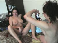 Naked lesbians taking self shots