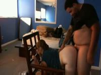 Hot latin young couple fuck hard near a chair,standing,then in the chair,!damn!