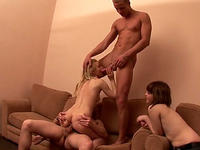Three guys enjoy horny drunken students