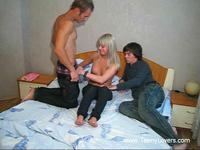 Blondie and two guys