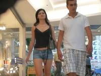 The hot denim jeans girl was walking with her bf but it didn't stop us from spying her