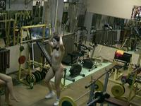 Amateur honey working out naked in the gym