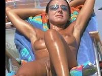 Oiled up tanned honey teasing