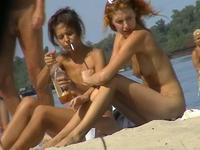 Hot topless girls on the beach
