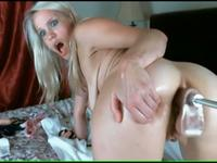 Blonde skank takes a fucking machine assfuck